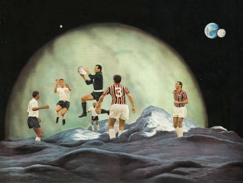Group of soccer players playing on a planet.