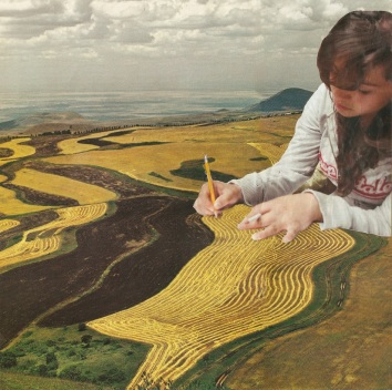 Collage of a giant girl drawing over a tiny landscape.