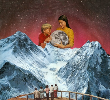 Collage of two giant kids holding a planet in their hands.
