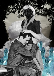 Collage of a couple surrounded by a surreal landscape.