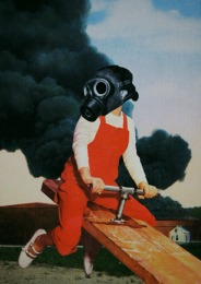 Collage of a child with a gas mask and a giant smoke leak on the background.