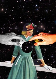 Collage of a well dressed woman into a galaxy landscape.