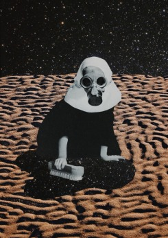 Collage of a nun with a gas mask into a sand and universe landscape.