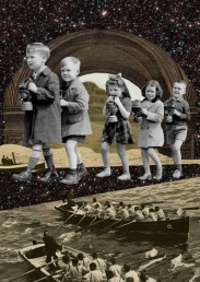 Collage of a line of giant kids walking into a tiny landscape.