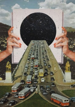 Collage of giant hands holding a universe portal where cars are entering.