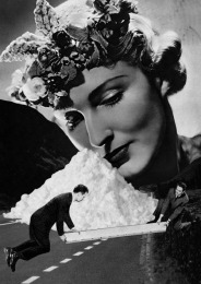 Black and white collage of a giant woman head observing two little men in front of her.