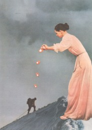 Collage of a giant woman pouring hearts over a little man that is climbing a mountain.