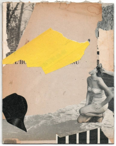Dada handmade style collage realised with vintage paper founds.
