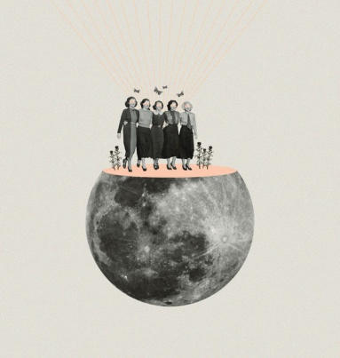 Group of women walking over a cut moon.