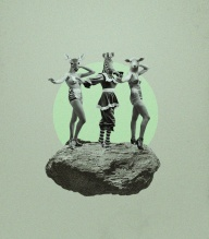 Group of 3 women with animal heads dancing over a suspended rock.
