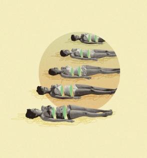 Group of women taking the sunbathe.