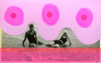 Vintage photo of a young men and woman at the beach decorated with fluorescent colours.