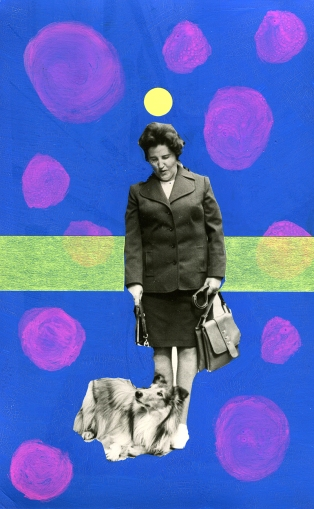 Collage over a vintage photo of a woman with her collie dog.