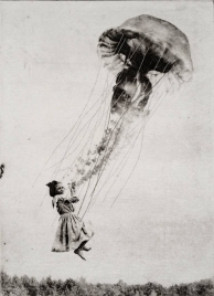 Girl holding a giant flying jellyfish.