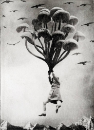 Girl flying into the sky holding giant mushrooms.
