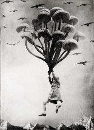 Girl flying into the sky holding giant mushrooms.