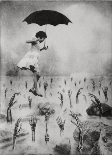 Girl jumping with an umbrella over skeletons arms.