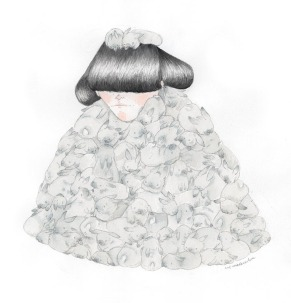Illustration of a girl with the body entirely covered with grey bunnies.