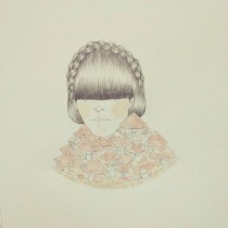 Illustration of a girl portrait dressed with mushrooms.