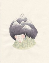 Illustration of a girl with mountain hair.