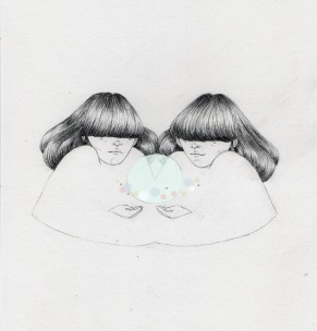 Illustration of two twin girls that are making float a semi transparent bubble into their hands.