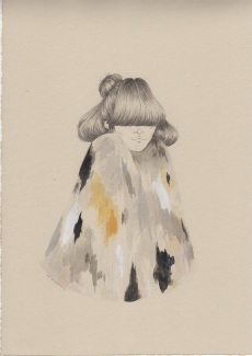 Illustration of a girl with a multi coloured coat.