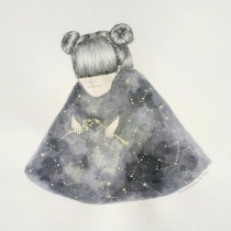 Illustration of a girl with a universe coat.