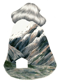 Illustration of a girl seen from her back with a coat where is draw a mountain.