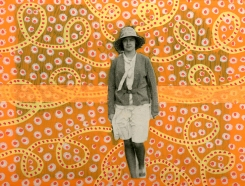Collage realised over a woman vintage photo portrait and decorated with fluorescent colours.