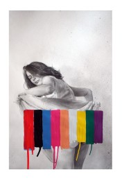 Portrait of a woman that raises up her dress to the viewer, but the back is covered by some coloured stripes.