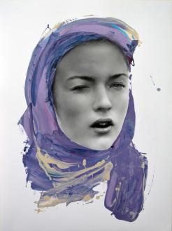 Woman portrait surrounded by a purple colour.