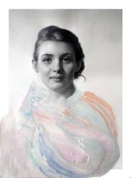 Female front portrait with some pastel colour decoration.