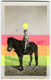 Neon collage on vintage photo of a kid riding a horse.