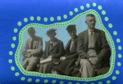 Collage done over a vintage group photo and decorated with electric blue and green pens.