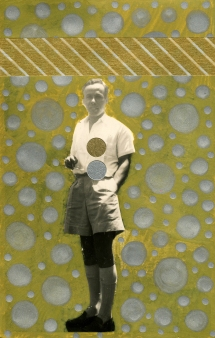 Man vintage photo decorated with sliver and golden colours.