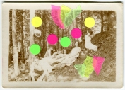 Collage created on vintage photo of a group of people in the woods and decorated with neon materials.
