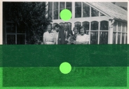 Collage on vintage group photo decorated with green washi tape and stickers.