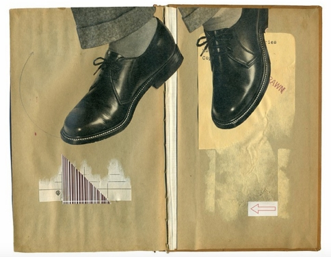 Collage of a giant pair of man shoes put over two vintage brown pages.
