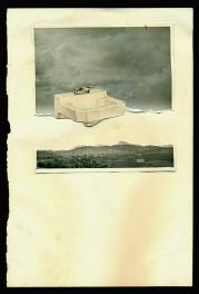 Collage over a vintage paper of a sink putted over a broken image of a landscape.