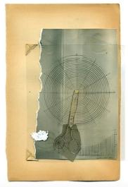 Paper cut of a scissor image over a vintage paper.