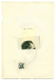 Dada and minimalist style collage of an half man head.
