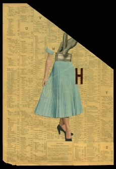 Collage of half female body putted over a vintage paper.