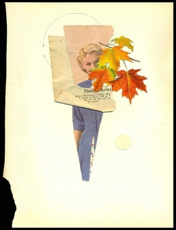 Half female body collage decorated with vintage paper and leaf paper cuts.