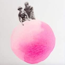 Collage of a couple sat over a giant shocking pink dot.
