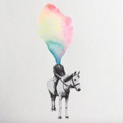 Collage of an headless man riding a horse with a rainbow vapour coming out from the head.