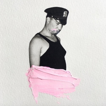 Policeman decorated with a pastel pink colour.