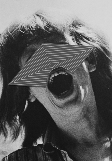 Photo of a screaming woman with an abstract element putted over her face.