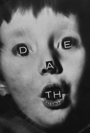"""Kid portrait with the hand cut word """"Death"""" over his face."""