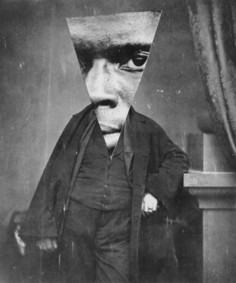 Vintage man portrait with a giant triangular face.