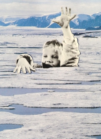 Giant kid coming out from a icy landscape.